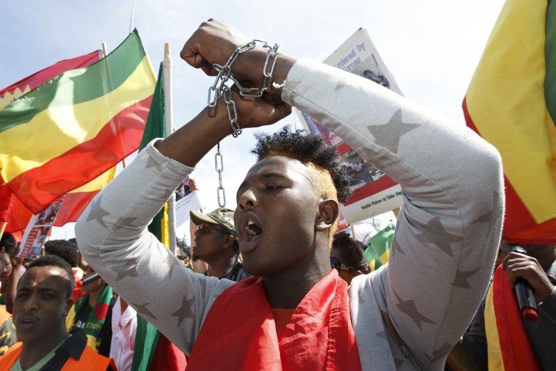 WHO總幹事選舉:抗議衣索比亞人權不彰的示威人士(AP)