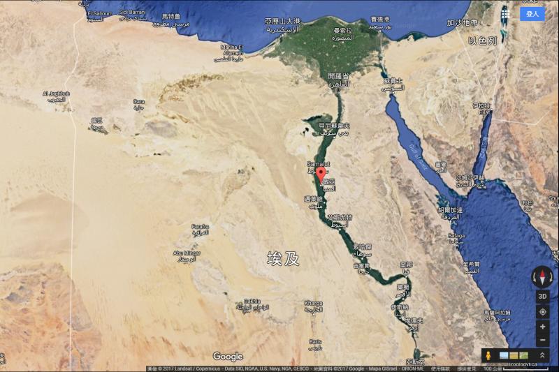 埃及一輛公車26日在中部民雅省遭恐怖分子槍擊,造成數十人死傷。(Google Map)
