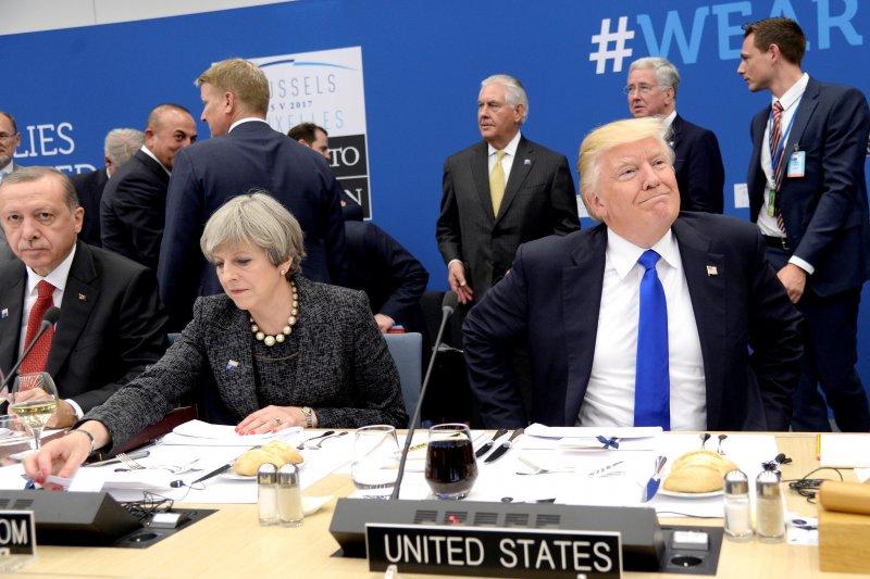 北約(NATO)峰會25日於比利時首都布魯塞爾舉行,美國總統川普一言一行受矚目(AP)