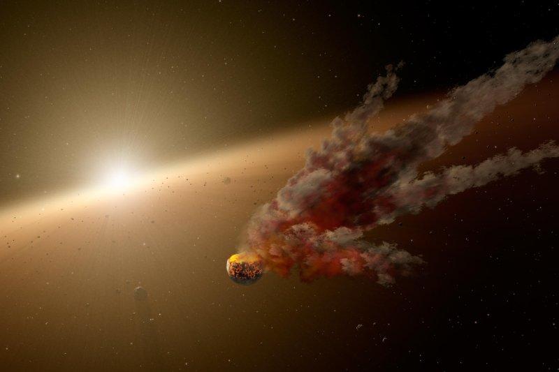 塔碧星(Tabby's star)光度變化假說,大型行星撞擊(Wikipedia / Public Domain)