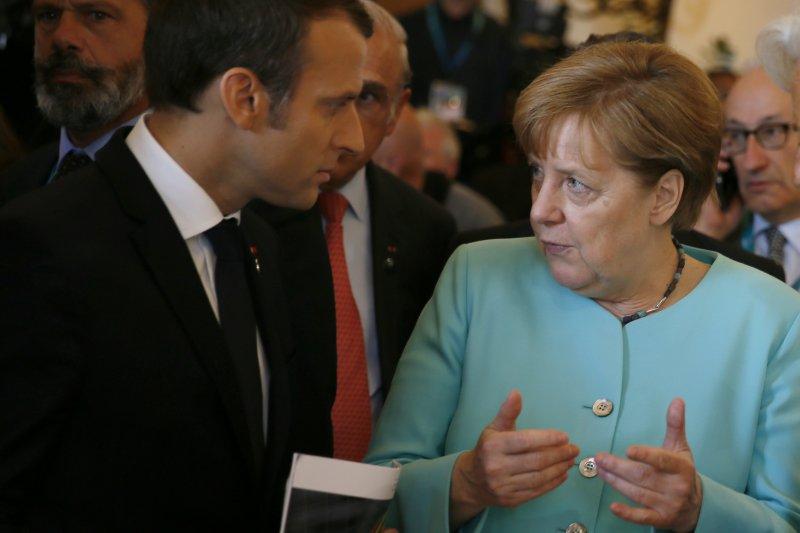 德國總理梅克爾與新科法國總統馬克宏(AP)