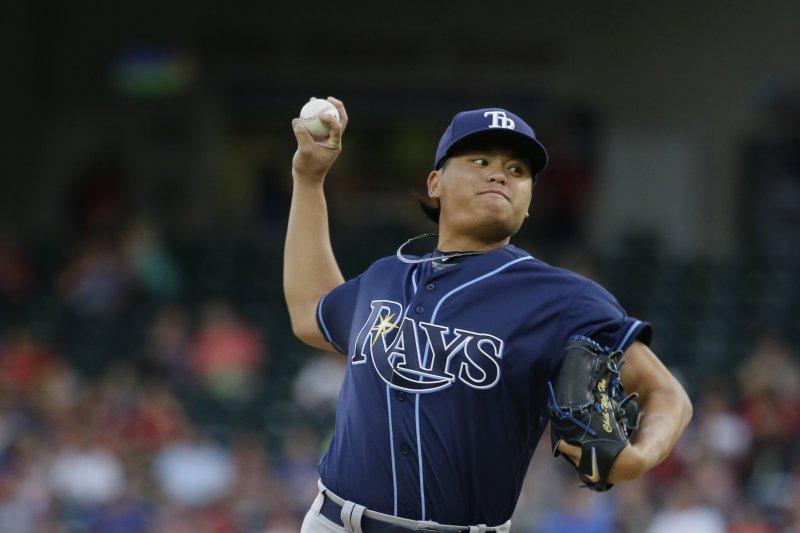 效力於美國職棒大聯盟MLB坦帕灣光芒隊的台灣投手胡智為(美聯社)