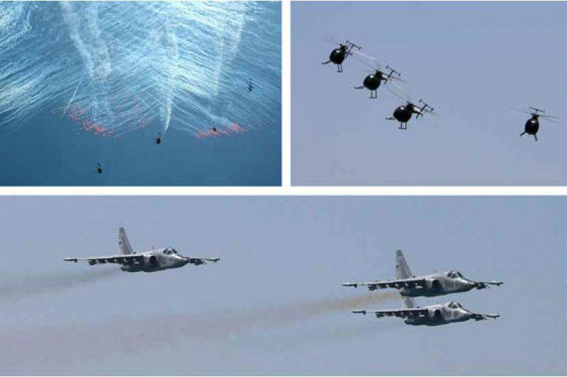 北韓4日舉行以打擊航母為想定的空軍實彈演練。(勞動新聞)