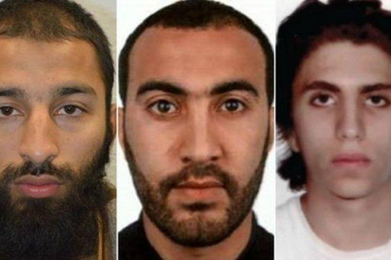 警方公布倫敦橋爆炸案三名兇嫌的名字:博特(Khuram Butt),瑞多安(Rachid Redouane)和優素福·扎格巴(Youssef Zaghba)。(BBC中文網)