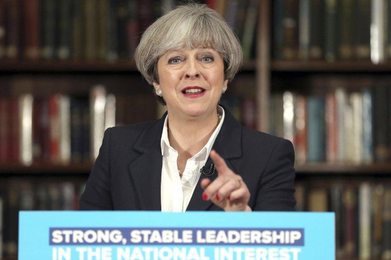 英國首相、保守黨黨魁梅伊。(美聯社)