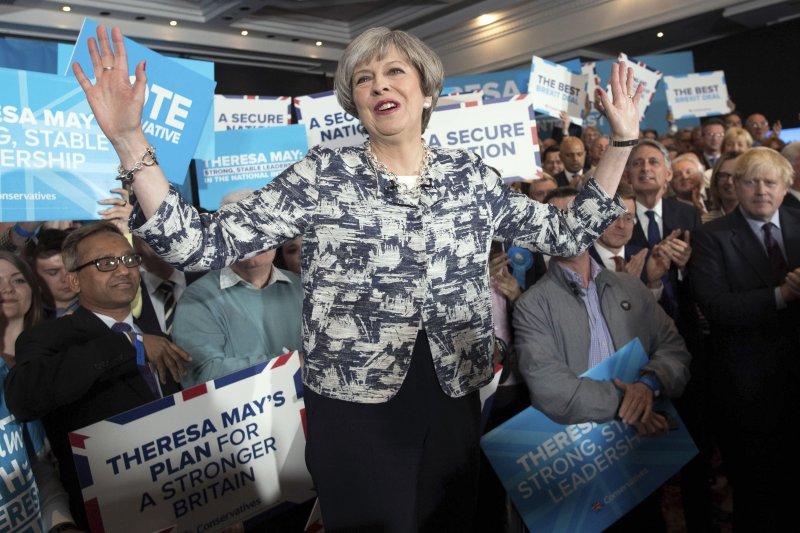 英國首相梅伊,英國國會大選,保守黨。(美聯社)