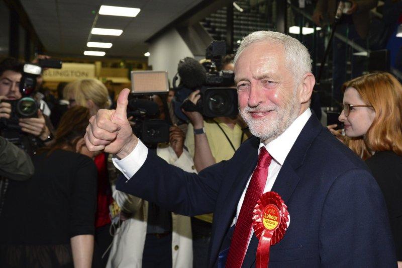 英國工黨領導人柯賓(Jeremy Corbyn)是2017年大選最大贏家(AP)