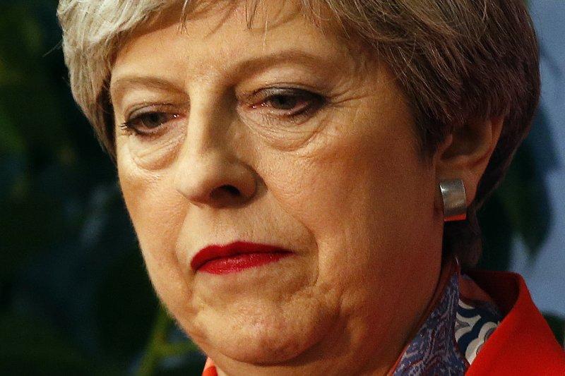 英國首相梅伊在今年的英國大選裡慘輸(美聯社)