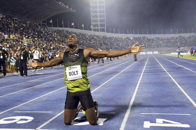 當代最偉大短跑選手「牙買加閃電」博爾特(Usain Bolt)10日來到京斯頓(Kingston),參加自己在祖國的最後一場比賽(AP)