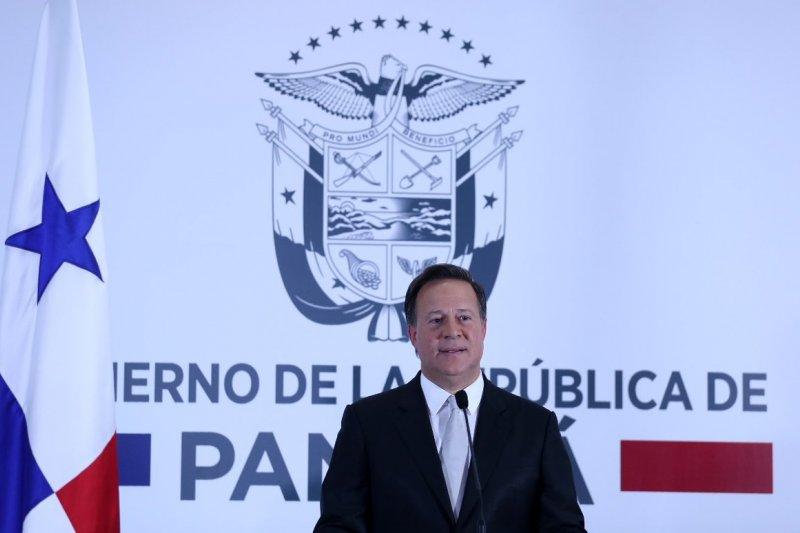 巴拿馬總統瓦雷拉在當地時間12日晚間8時舉行記者會,宣布巴拿馬與中國建交(取自Juan Carlos Varela@Twitter)