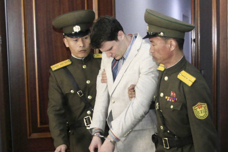 因偷撕政治標語被北韓逮捕的美國大學生瓦姆比爾,去年遭重判勞改15年。(美聯社)