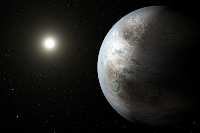 行星Kepler-452b(右)與其恆星Kepler-452的想像圖。(美聯社)