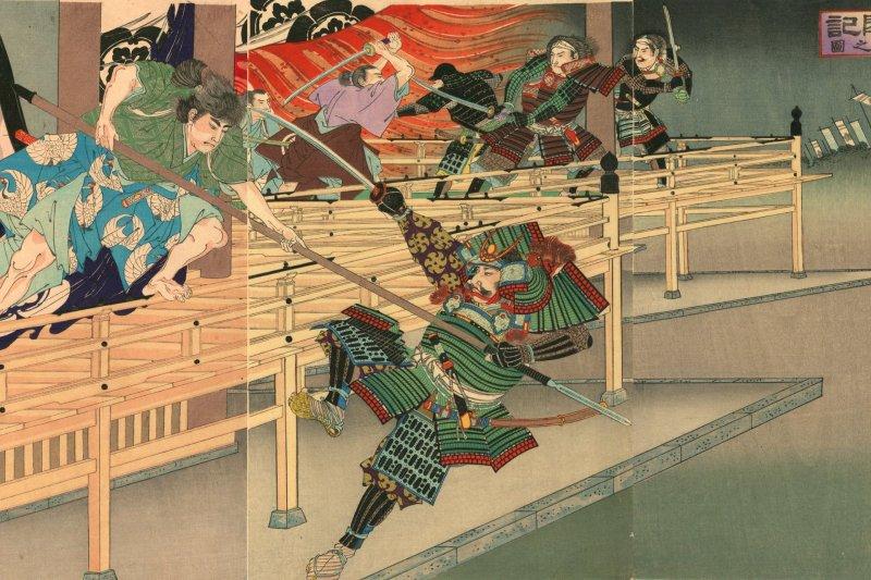 楊齋延一在《真書太閤記》中繪製本能寺燒討圖。(維基百科)