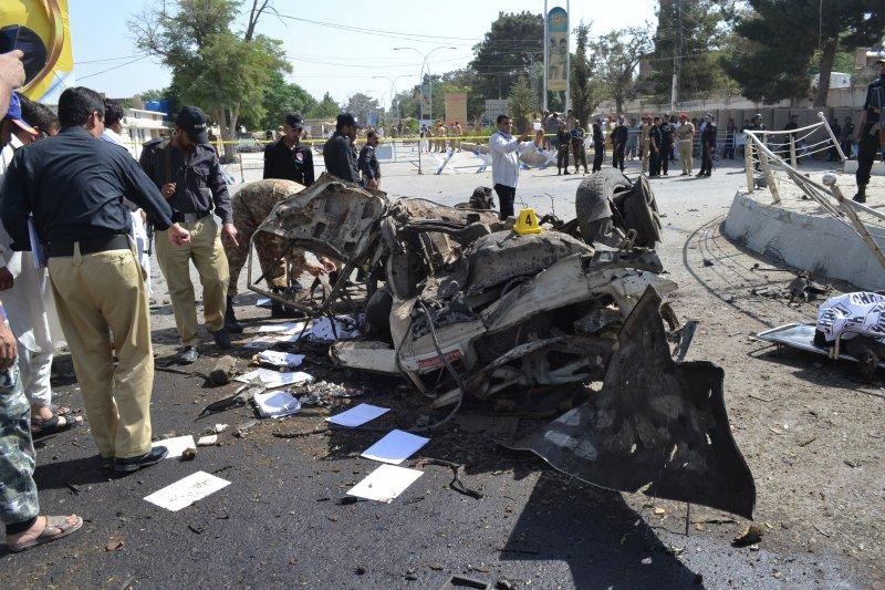 巴基斯坦俾路支省首府奎達23日發生爆炸案。(美聯社)