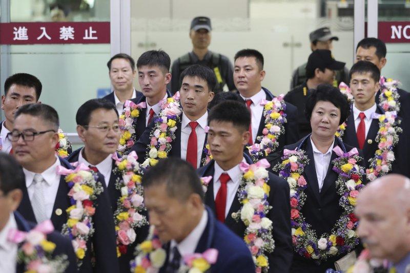 北韓跆拳道隊伍參加在南韓舉行的世界跆拳道錦標賽。(美聯社)