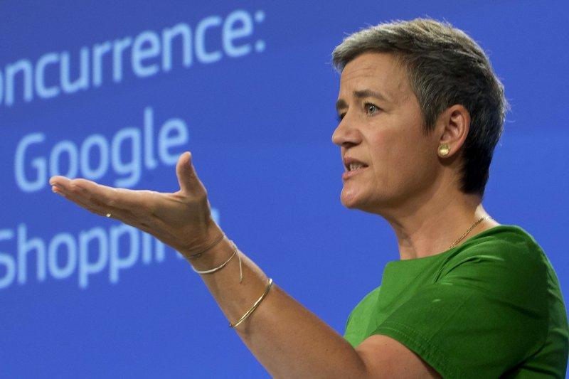 2017年6月27日,歐盟執委會負責商業競爭事務的專員(部長級)維斯塔格(Margrethe Vestager)對谷歌(Google)開鍘(AP)