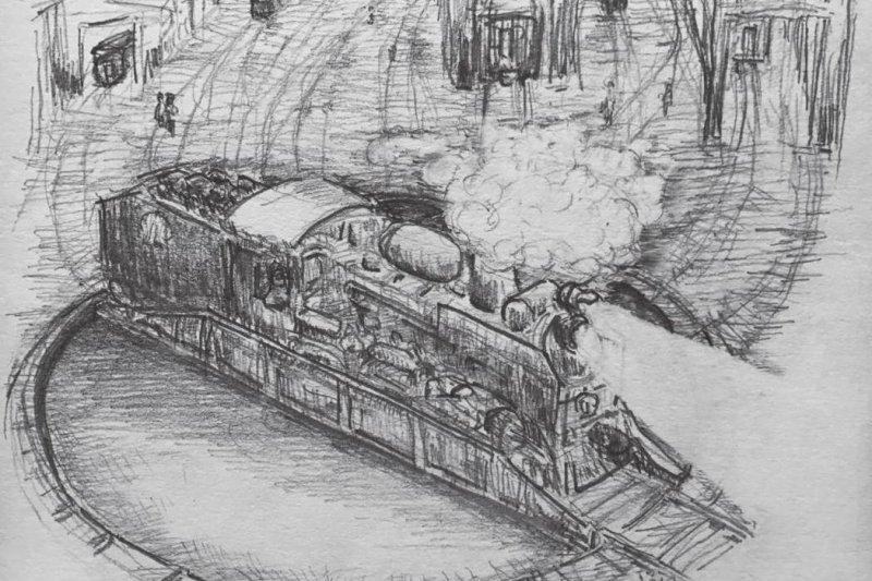 「鐵道就此朝遠方延伸,猶若你夢中的遠方,那是個無窮無盡,望穿秋水的思緒吧。」(圖為本書內文《方島》中插圖,圖由東美出版提供)