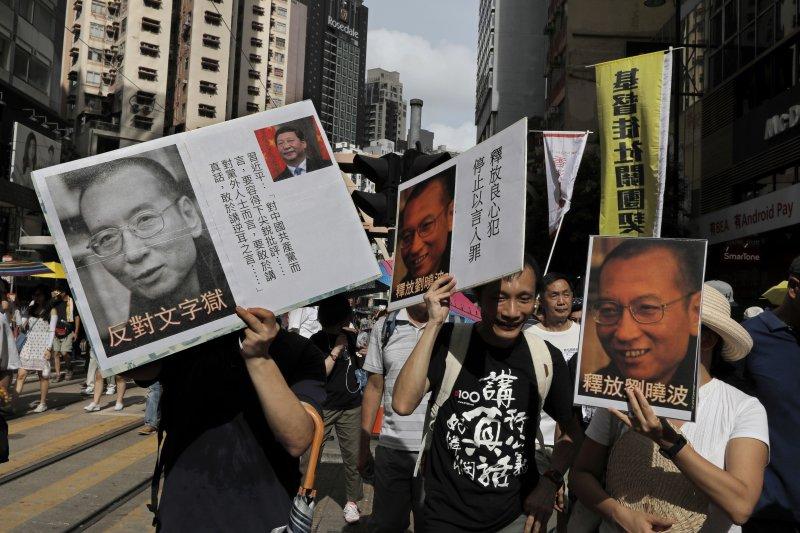 香港71大遊行,聲援劉曉波,但是,他們失望了。(AP)