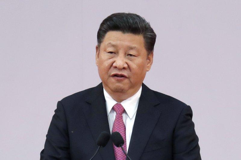 習近平在香港回歸20周年紀念活動上致詞。(美聯社)