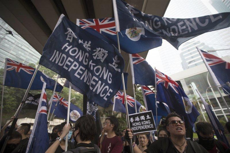 香港政府24日上午以公開鼓吹「香港獨立」,嚴重違反《基本法》等理由,禁止香港民族黨運作。(AP)