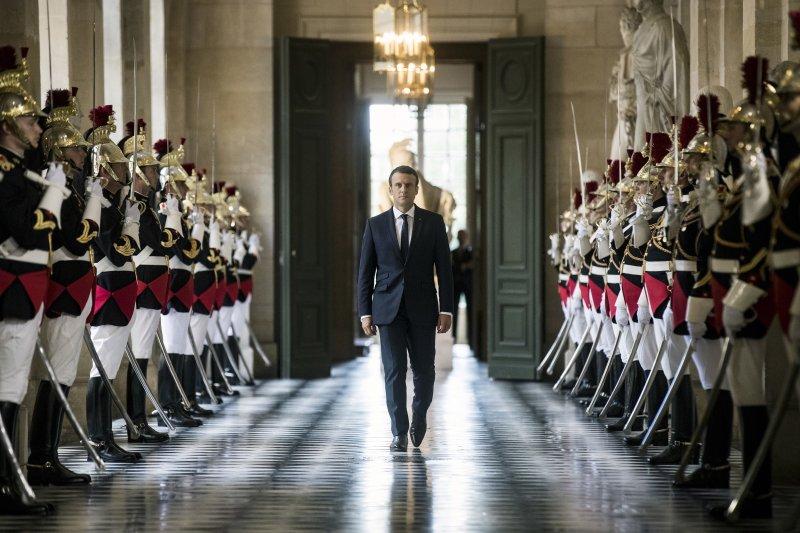 法國總統馬克宏,凡爾賽宮。(美聯社)