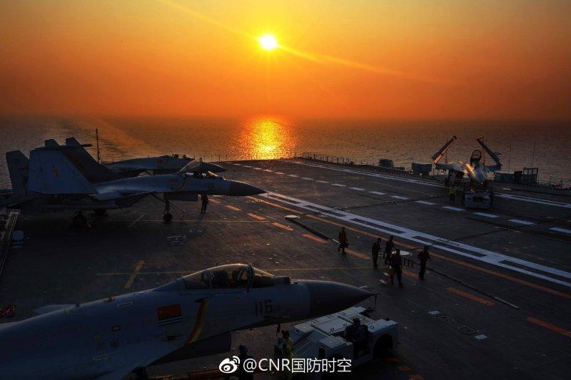 遼寧號在東海與台灣海峽一帶進行演練。
