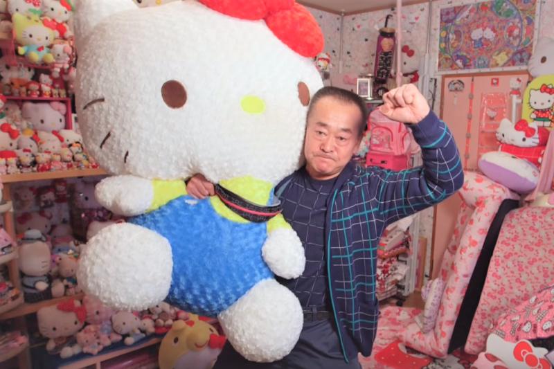 郡司正雄(Masao Gunji)擁有超過5000件凱蒂貓的收藏品。(圖/Guinness World Records @youtube)