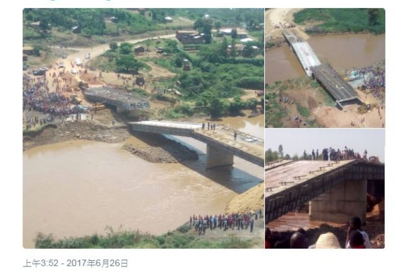 中國公司在肯亞建造的大橋26日驚傳坍塌。(截圖ˋ自推特 twitter.com/dailynation)