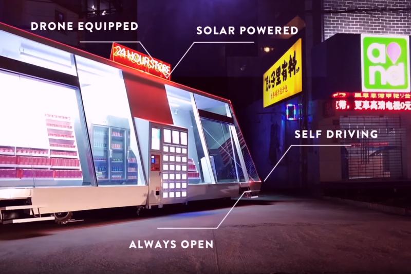 瑞典的新創公司Wheelys在中國設置了一間無人智慧型商店「車」。(圖/Wheelys Cafe@youtube)