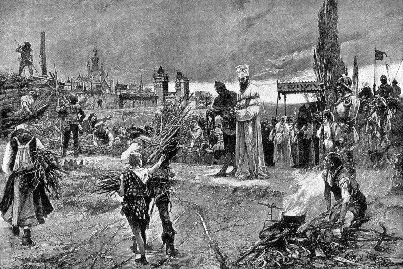 1415年,捷克宗教改革先驅胡斯遭教會以火刑處死。(維基百科公有領域)