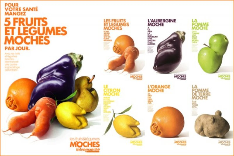 法國Intermarché超市為推廣醜蔬果製作了一系列的幽默海報。(圖/Outside提供)