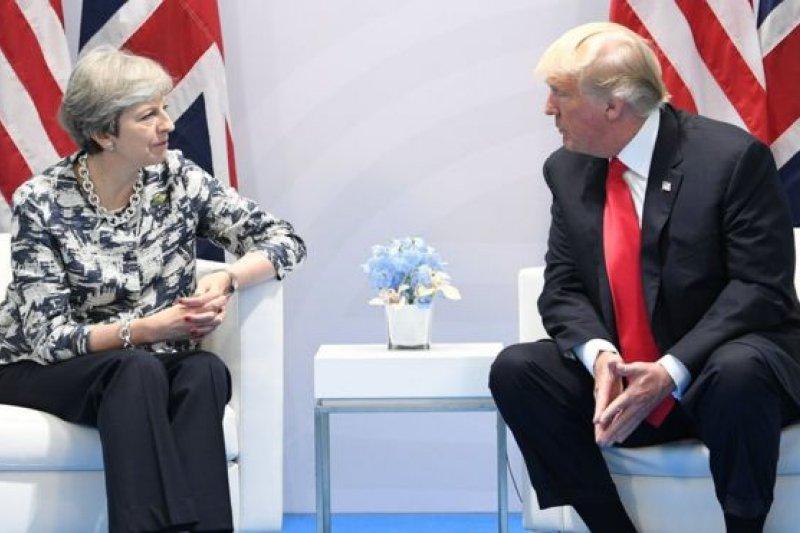 G20漢堡峰會期間,美國總統川普和英國首相梅伊舉行了雙邊會談。(BBC中文網)