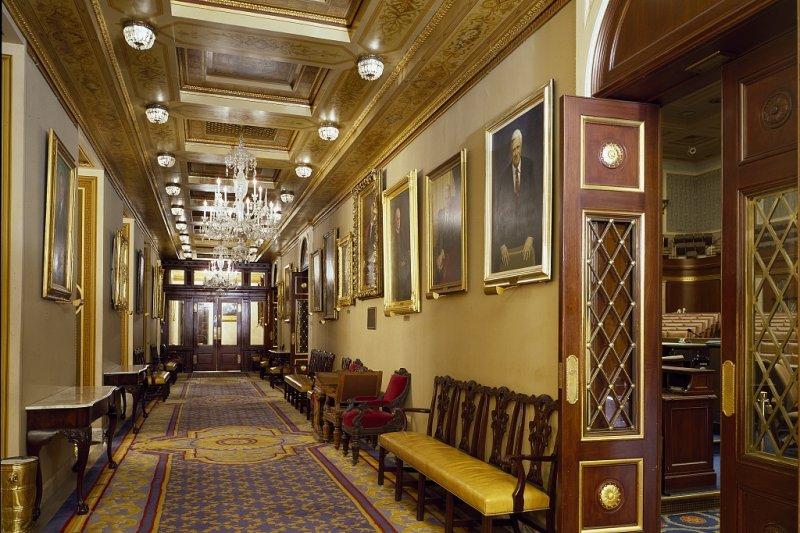 美國聯邦眾議院議事廳外的「議長門廊」(翻攝國會圖書館官網)