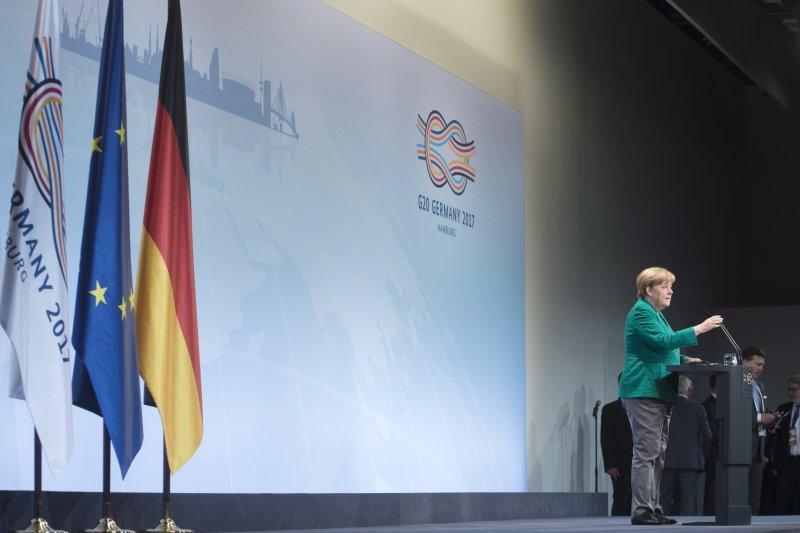 G20漢堡峰會落幕,德國總理梅克爾舉行記者會發布成果(AP)