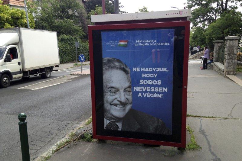 匈牙利政府不滿美籍猶太裔投資加索羅斯的批評,竟然發動廣告宣傳攻勢反擊(AP)