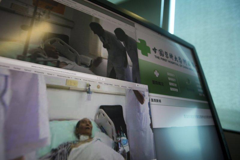 中國諾貝爾和平獎得主、《零八憲章》起草人劉曉波因肝癌末期保外就醫。(美聯社)