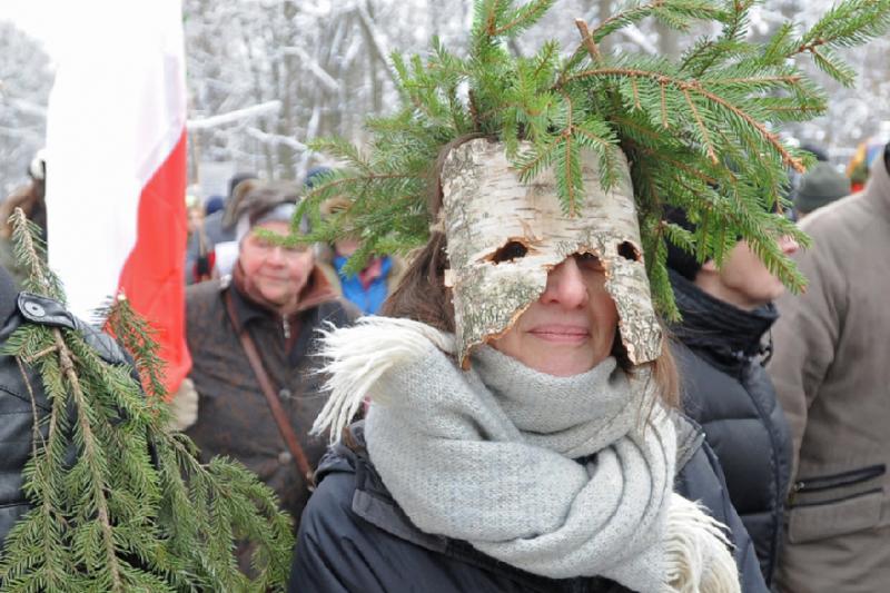 2016年1月,波蘭華沙民眾走上街頭,要求全面保護比亞沃維耶扎原始森林(AP)
