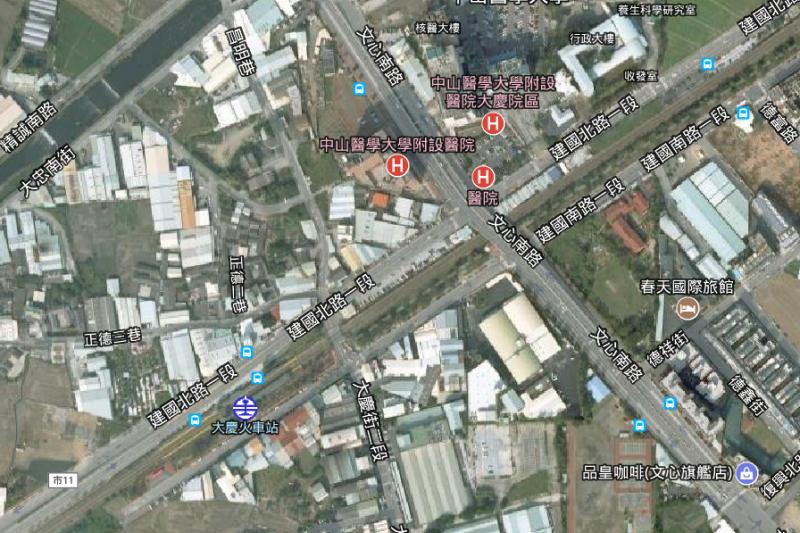 圖四:台中市之六線道之文心路只要拿出二線道就可以用來興建捷運了,而烏日至彰化段則可以利用既有鐵路立體化來作捷運。(作者提供)