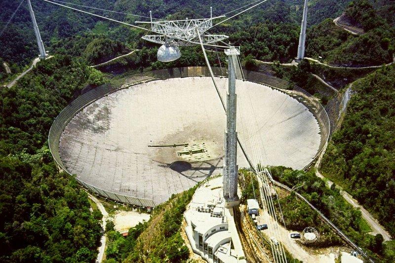 波多黎各的阿雷西博天文台(Arecibo Observatory)擁有直徑達305公尺的單面口徑電波望遠鏡。(維基百科/公用領域)