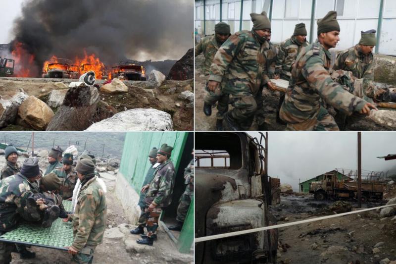 巴基斯坦假新聞中的印度部隊受到中國攻擊的照片。
