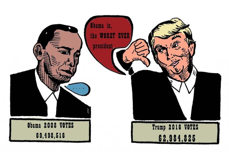 川普曾在推特發言,歐巴馬毫無疑問是有史以來最糟糕的總統!(圖/聯經出版提供)