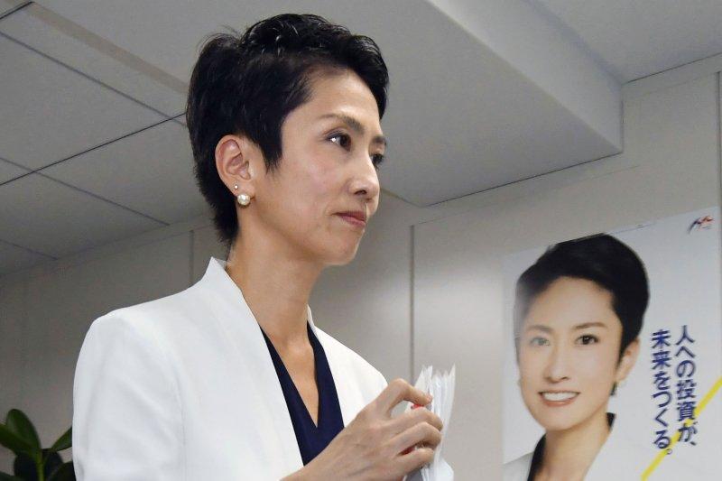 2017年7月18日,有「台灣的女兒」之稱的日本參議員蓮舫召開記者會說明雙重國籍爭議(AP)