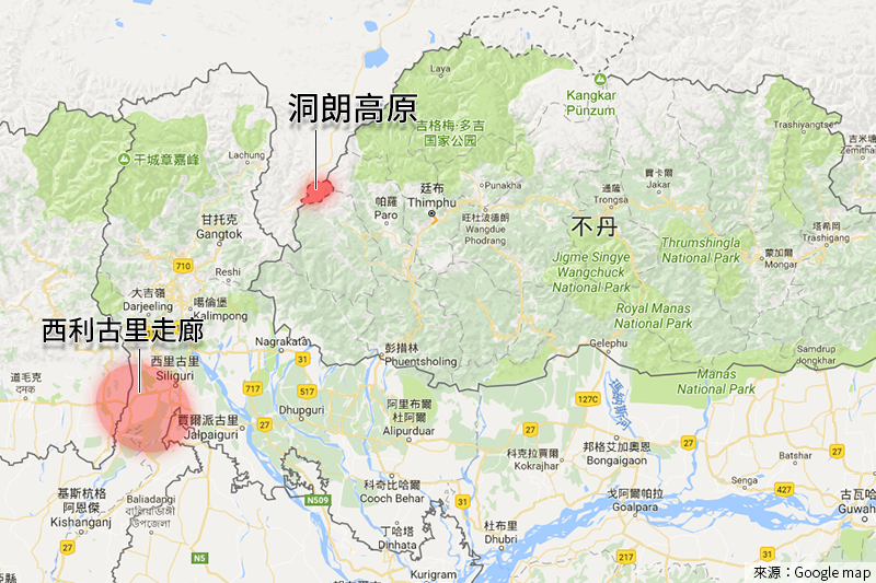 印度與中國在洞朗高原對峙,攸關西利古里走廊的敏感地位(Google Map,風傳媒製圖)