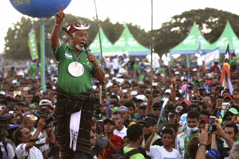 東帝汶國會大選:前總統古斯芒向所屬政黨CNRT支持者喊話(AP)