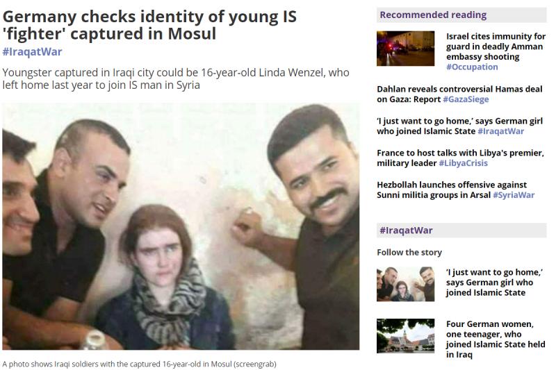 德國少女一年前加入IS,上周在伊拉克摩蘇爾遭逮捕。(圖/截自網路)