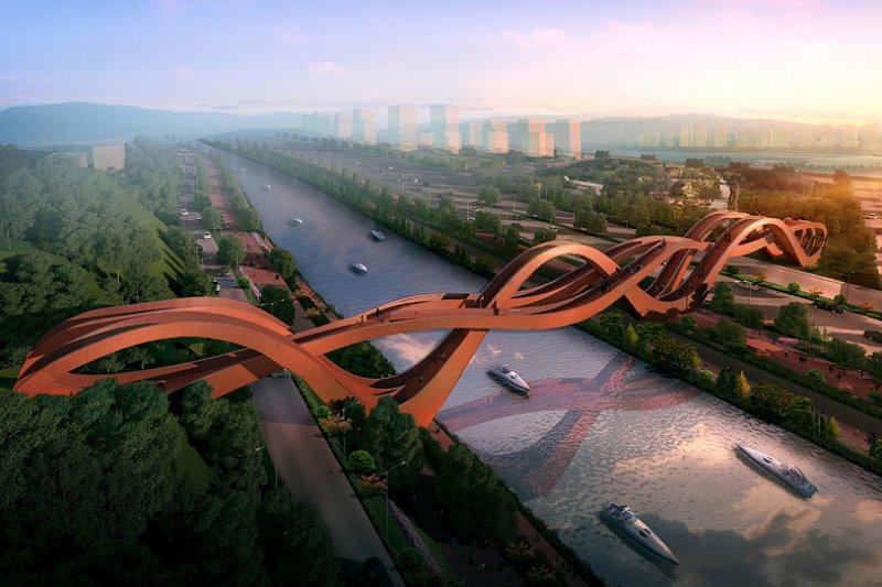 英媒日前票選出世界上最出色的五座橋,台灣建築師張哲夫作品也入選。(圖為荷蘭幸運結人行大橋)(圖/荷蘭NEXT 建築師事務所官網)