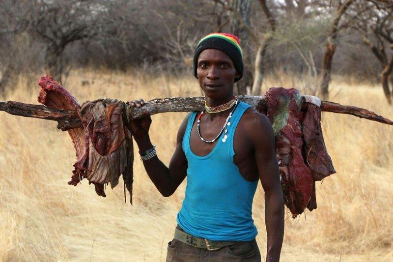 肩扛大塊獸肉的哈扎男子。(BBC中文網)