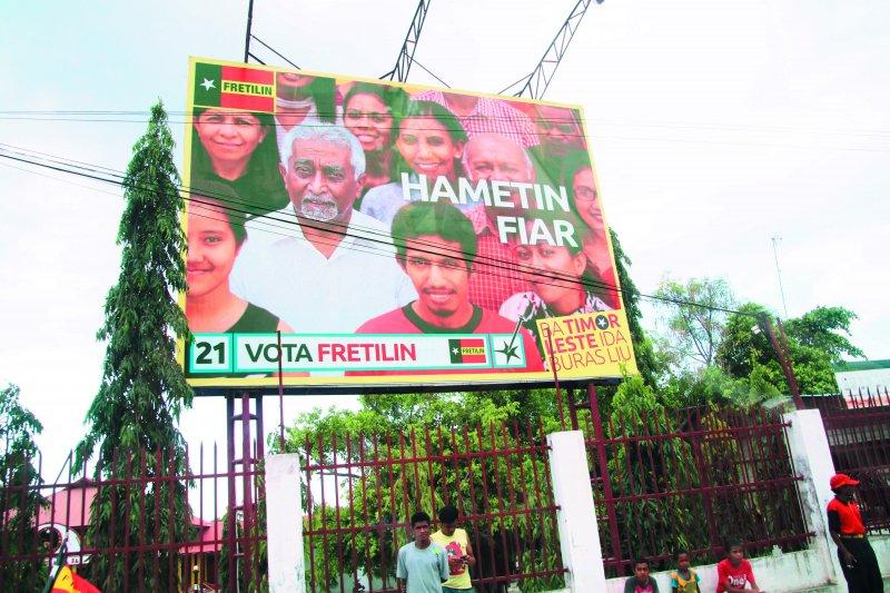 東帝汶獨立革命陣線(FRETILIN)獲得最多選票。(洪耀南攝)