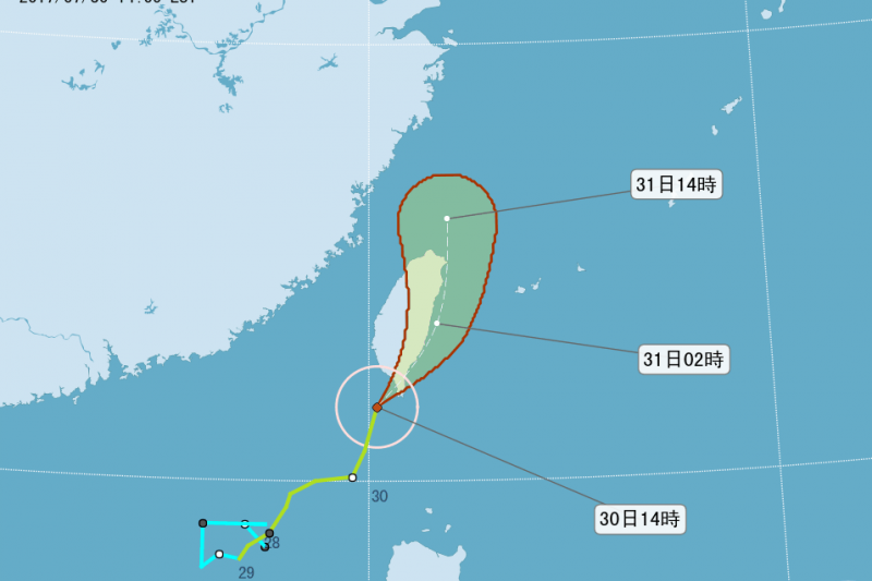 2017-07-30-海棠颱風路徑潛勢圖。(取自氣象局網站)