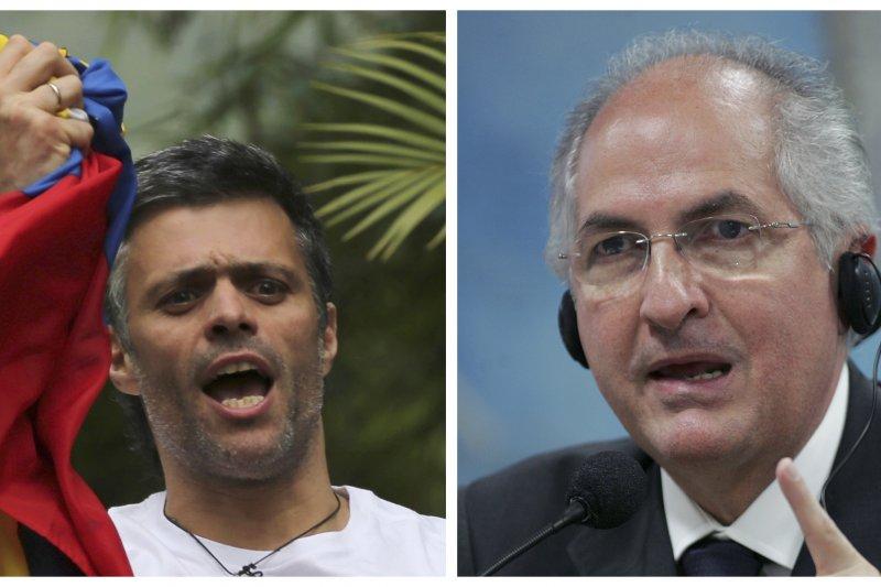 委內瑞拉反對派領袖羅培茲(左)和利德茲馬(右)被情報人員從家中押走。(美聯社)